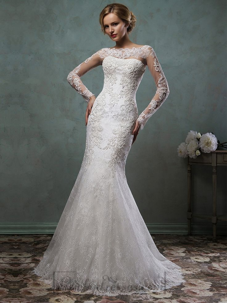 Sheer Lace Sleeves Bateau Neckline Fit and Flare Trumpet Mermaid Wedding Dress