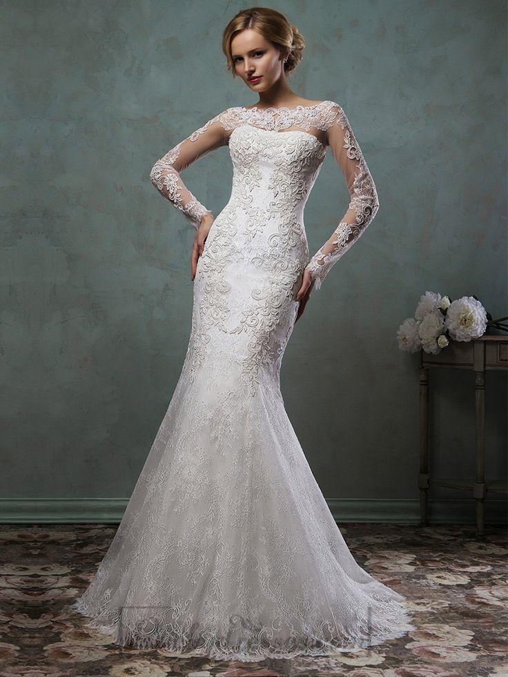 Sheer Lace Sleeves Bateau Neckline Fit and Flare Trumpet Mermaid Wedding Dress