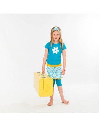 Setje Rokje FEBE, bijpassende legging en longsleeve blauw met witte bloem