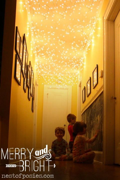 Make your hallway 100% more magical in under 15 minutes, thanks to multiple strands of Christmas lights. See more at Nest of Posies.