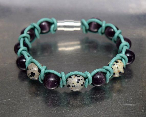 Purple cats eye and dalmatian jasper beads (semi precios stones) turquoise leather cord - wrap bracelet 19cm (7.48in)