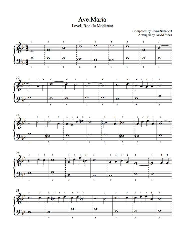 Ave Maria by Franz Schubert Piano Sheet Music | Rookie Level