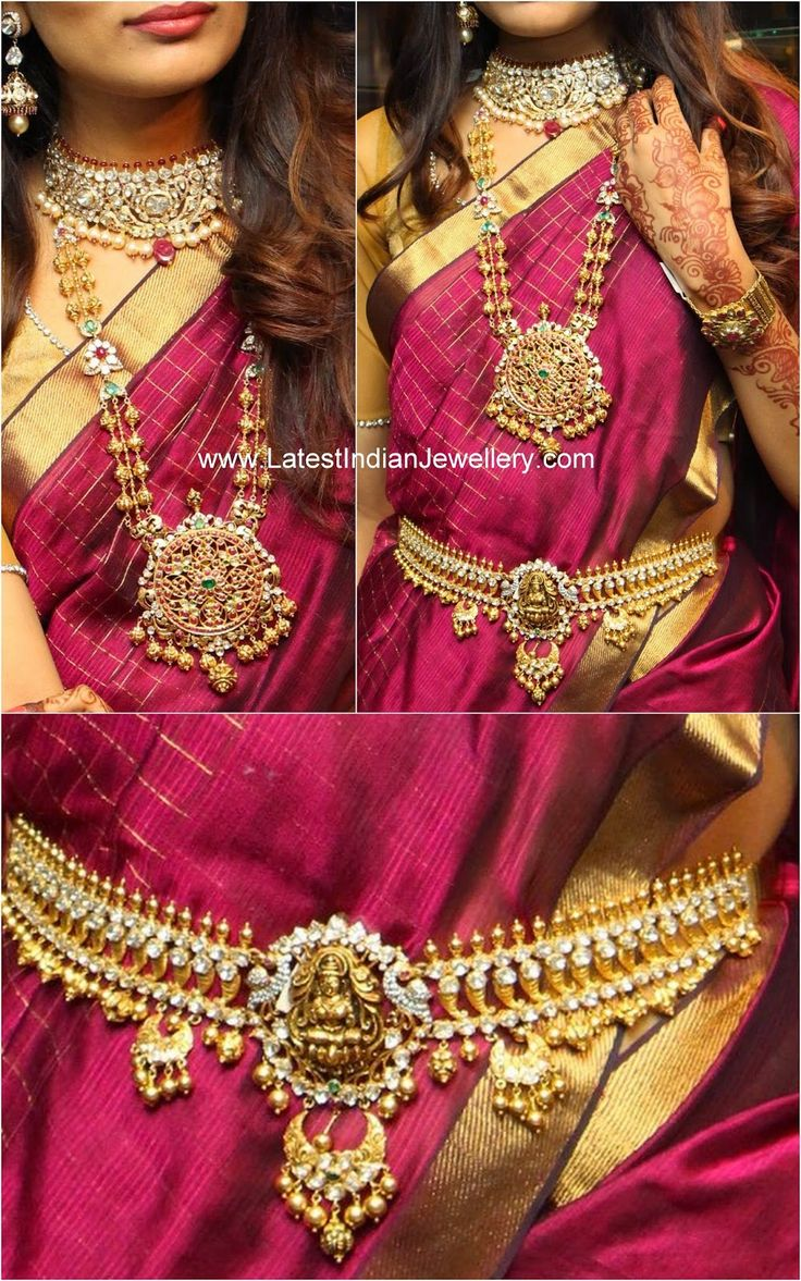 Gold vaddanam oddiyanam kammarpatta waisbelt designs south indian - Antique Gold Polki Diamond Bridal Jewellery