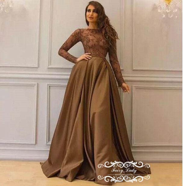 aac0e38399ee2 Modest Brown Long Sleeves Evening Dresses Formal 2018 Sheer Illusion ...