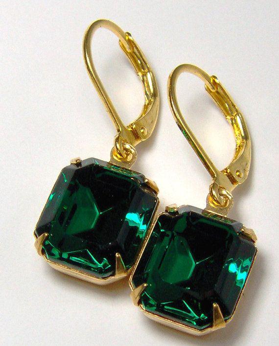 Deep Emerald Green Rhinestone Earrings by RhinestoneAndPearl, $12.00
