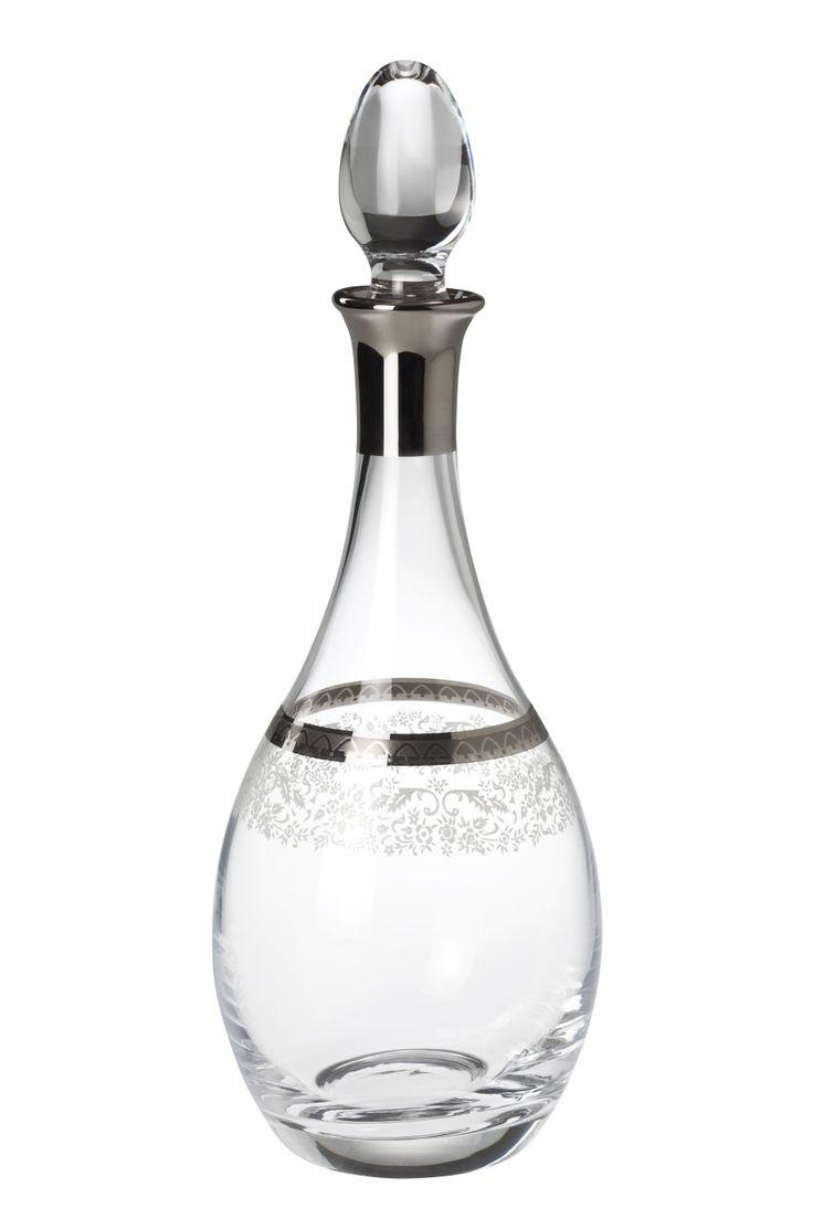 Bridal Platinum Karaf / Wine Pitcher #bernardo #tabledesign #glass #platinum