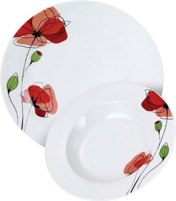 Tafelservice Mohnblume 12 Tlg Porzellan Mit Mohnblumen Dekor Tafelservice Mohnblume Und Dekor