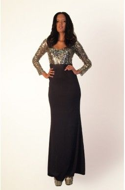 Long Sleeve Sequin Top Slit Gown - $125 - Free shipping all over Australia