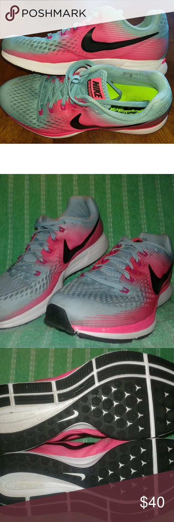 NIKE Zoom Pegasus 34 Running Shoes 11 -Pink Blue Womens Nike Air Zoom Pegasus 34 Running Shoes - Fast! Train! Marathon! 5K Womens Size 11.......................Blue, Hot Pink & Racing White Less than 20 miles on them. No excess wear at all! treads are like new. There are a few scuffs and dirt spots but they still close to new Great lightly used condition - Neutral Running Shoe. High cushioning in a responsive package. A great shoe for running, training or everyday comfort. NIKE Shoes…