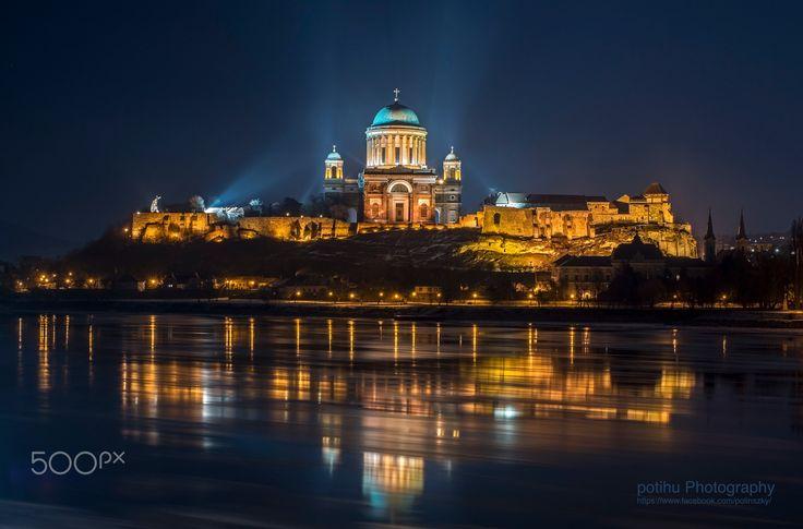 Esztergom by night - A night bank of the Danube at Esztergom