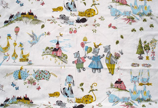 17 best images about fabric on pinterest vintage fabrics for Retro nursery fabric