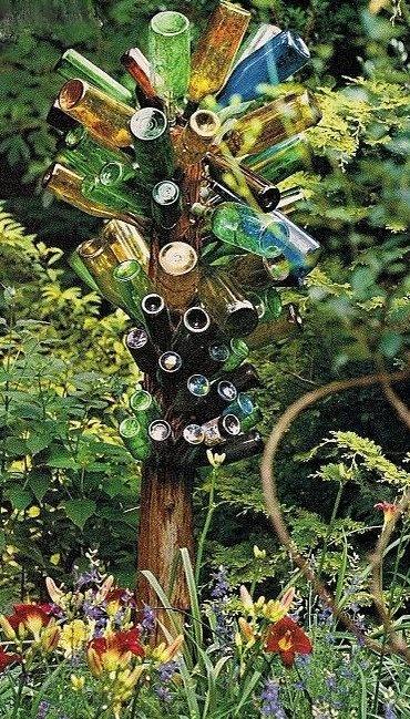 """A Bottle Tree For My Garden """"Reuse of Junk"""" How To Make A Bottle Tree.: Gardens Ideas, The Cure, Bottle Trees, Southern Gardens, Yard Art, Gardenart, Wine Bottle, Gardens Art, Eclectic Landscape"""