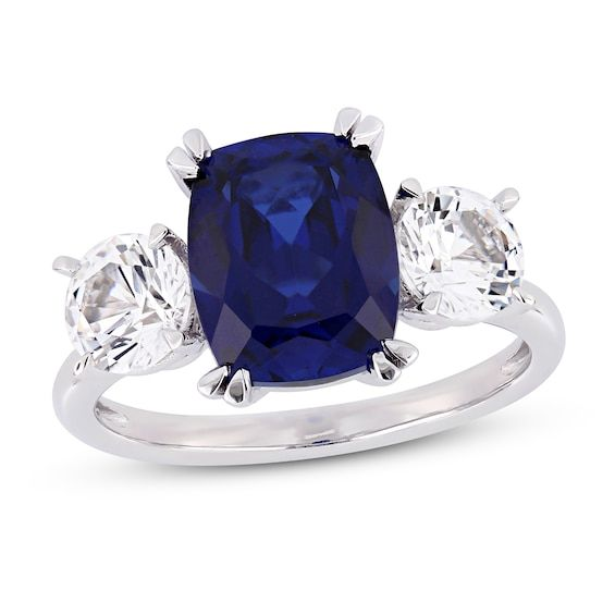 Lab Created Sapphire Ring 10k White Gold In 2020 Three Stone Engagement Rings Gemstone Engagement Rings White Gold