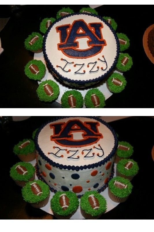 Auburn Cake with football cupcakes #ultimatetailgate #Fanatics