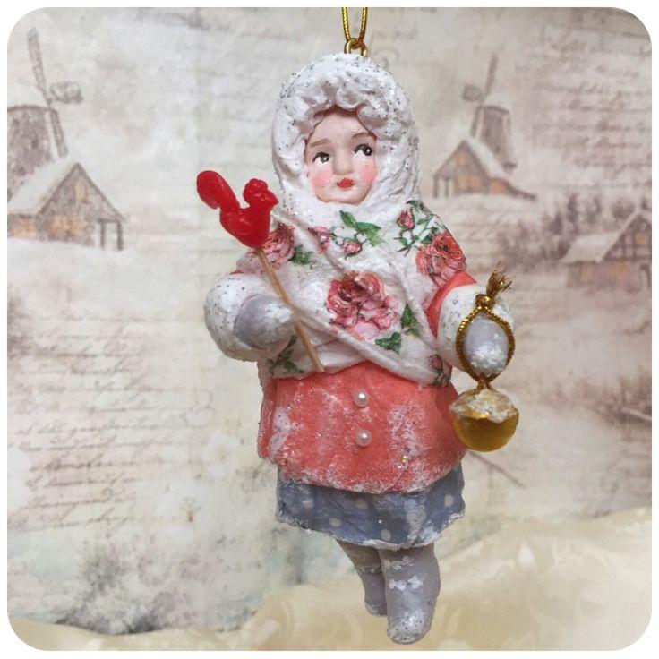 """Ватная игрушка """"Снежный городок. Варенька"""" #annettedecor #ватнаяигрушка #хендмейд #handmade #новыйгод #рождество #елочнаяигрушка #игрушканаелку #авторскаяигрушка #ручнаяработа #ватнаяигрушканаёлку"""