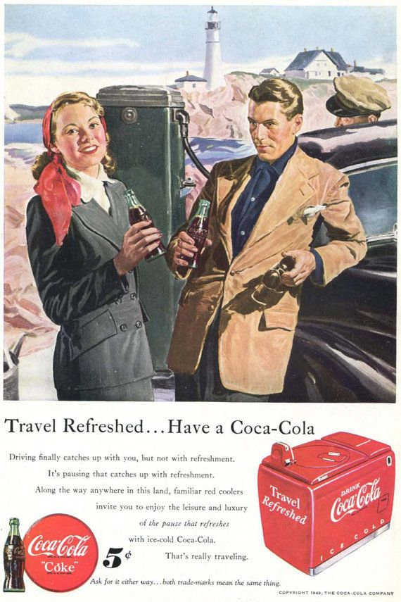 Travel Theme Coke Ad - 1940s Vintage Coca Cola Lighthouse