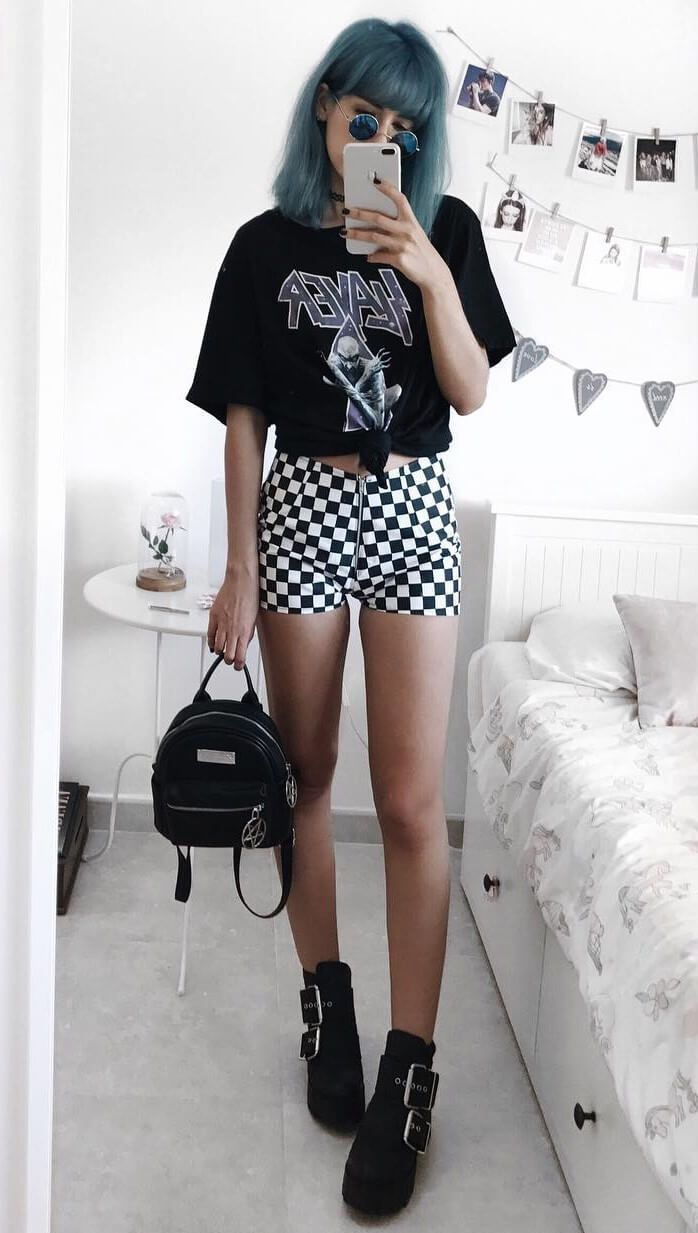 """Round sunglasses with choker tattoo, """"Slayer"""" graphic tee by deaddsouls"""