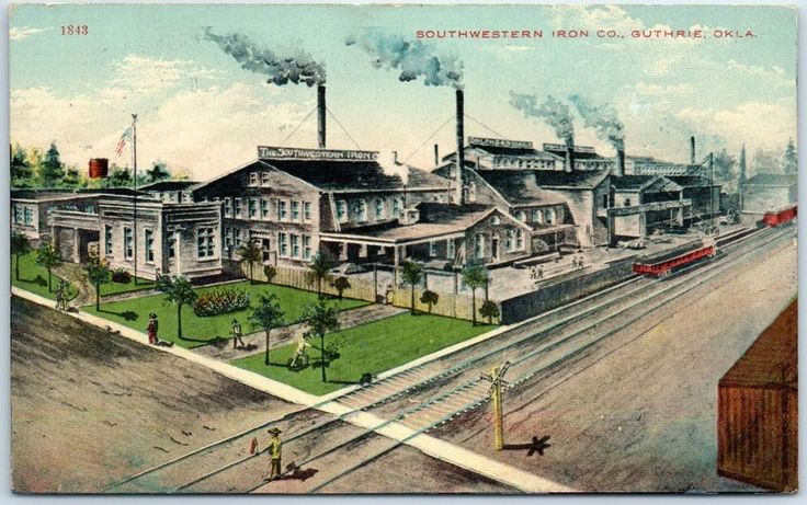 Guthrie, Oklahoma Postcard SOUTHWESTERN IRON CO. Factory View w/ 1911 Cancel