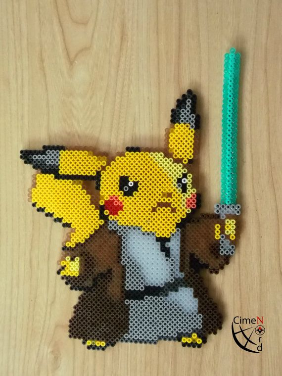Pikachu Jedi Perler Beads by CrazyHamaGuyBeads on Etsy
