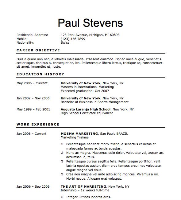 Free Resume Download Sprouting - Microsoft Word Format