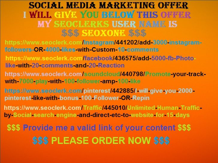 All kind of social media gig offer are available here