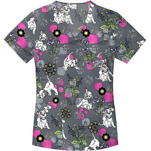 Dalmation Puppy Fun  Scrub Top - Simply Basic - Walmart size LARGE