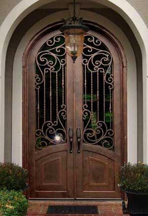 Tuscan Style Front Doors Double Iron Entry Doors For Sale