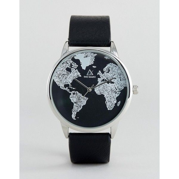 ASOS Monochrome Watch With Map Print Design ($25) ❤ liked on Polyvore featuring men's fashion, men's jewelry, men's watches, black and asos mens watches