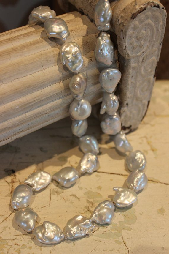 Beautiful large fresh water baroque pearl necklace with mystery screws on Etsy
