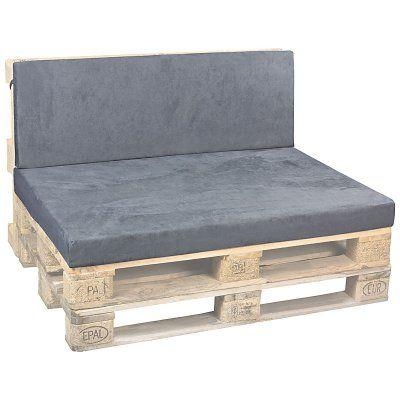 Ensemble de coussins de siège avec des coussins de dos en daim gris foncé, 120x80x10cm / 120x42x5cm