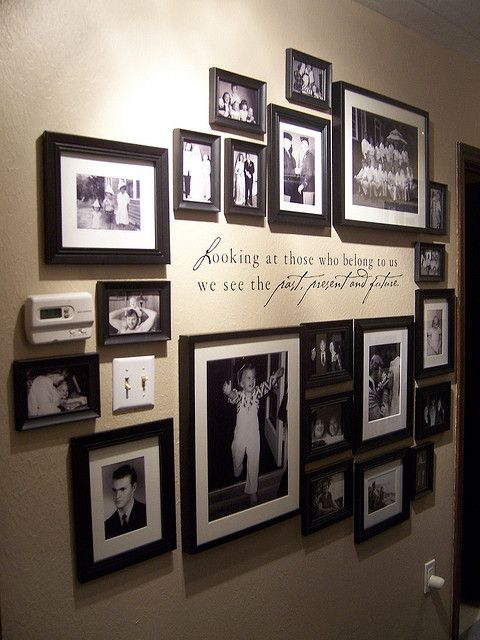 Family Photo Wall(:  great way to display your childhood photos.. So doing once we get his from his family!