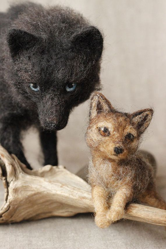 Reserved for JAMIE POLLAN needle felted black wolf door Ainigmati