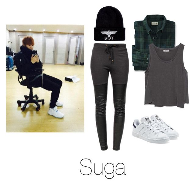 """""""Dance Practice with Suga"""" by btsoutfits ❤ liked on Polyvore featuring Ragdoll, adidas Originals, BOY London and Zara"""