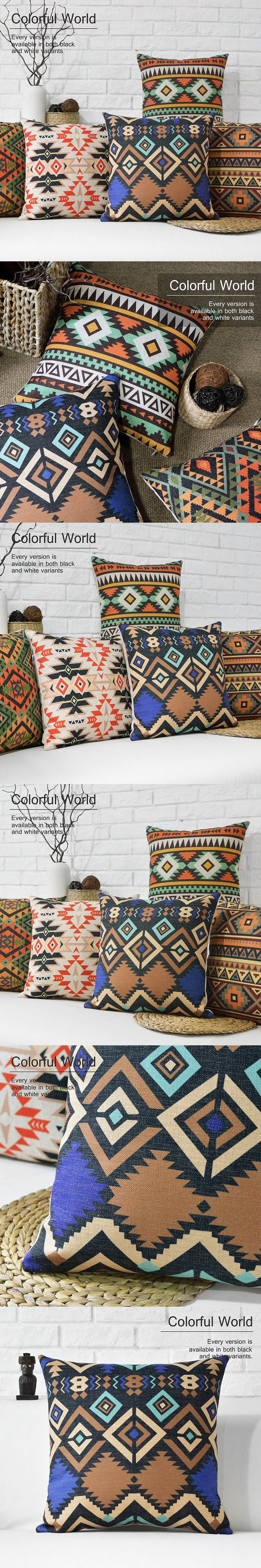 Free shipping/Bohemian abstract geometry 43 * 43 cotton and linen hold pillow covers national wind cushion for leaning on $8.9
