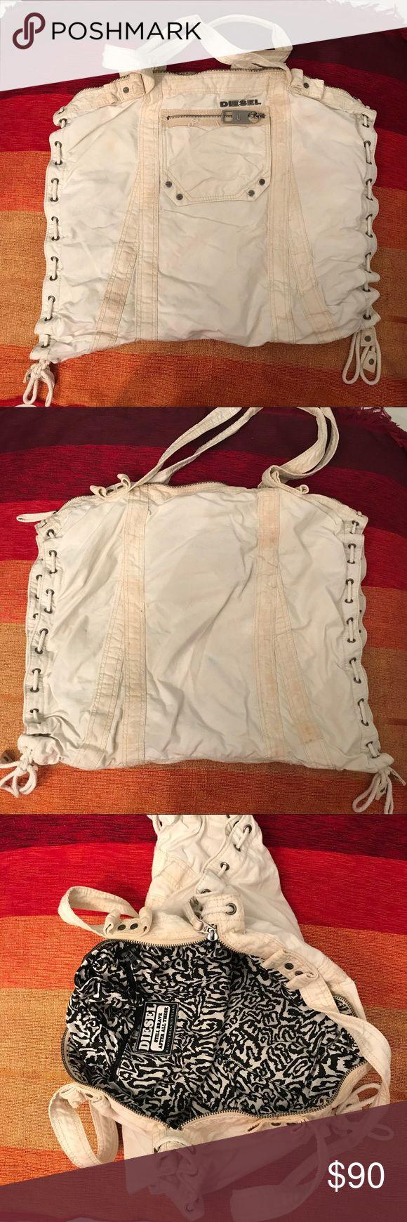 """Diesel Distressed Cotton Handbag Diesel Vintage Distressed Handbag. L 20"""" * H 16.5"""" D 4"""". Handle is 12"""". Nice Travel/Beach/Yoga/Gym Bag Diesel Bags Totes"""