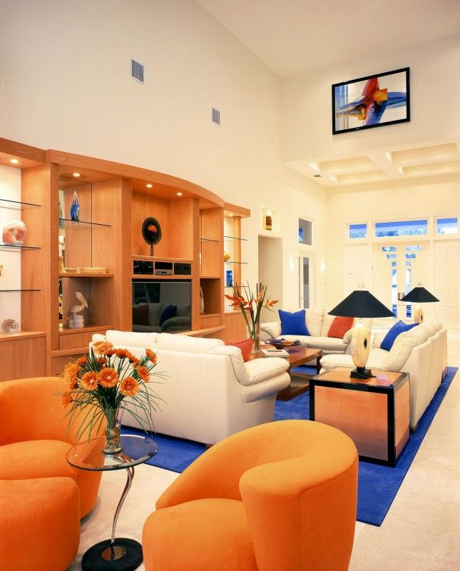 17 best ideas about orange living rooms on pinterest - Orange and blue living room ideas ...