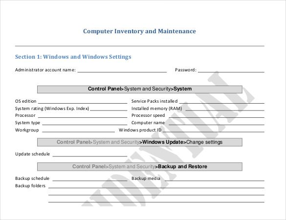 Computer Inventory Templates Checklist Template Computer Repair
