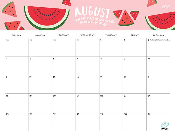 2020 Foodie Printable Calendar For Moms August Calendar