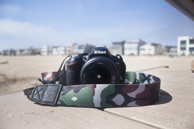 TETHER Camera Strap - Camo design camera strap for DSLR or SLR camera, DSLR Camera Strap. Camera accessories. Canon camera strap. Nikon camera strap. Non-Fading Dye. Genuine Leather Ends. Soft and Comfortable. Durable. Universally compatible with most Cameras.