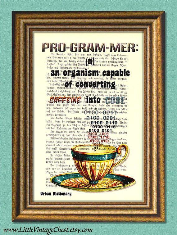 PROGRAMMER DEFINITION  Dictionary Art Print  by littlevintagechest, $7.99