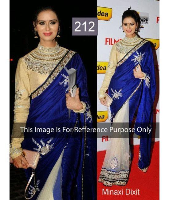 Bollywood Designer Minaxi Dixit Multi Color Party Wear Saree