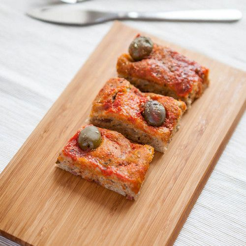 Pizza with Olives and Larded Salami