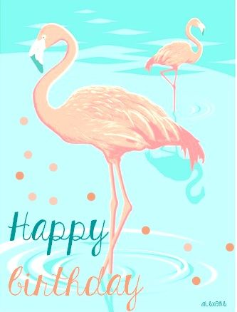 Happy Birthday Flamant Rose Pois Mint Color Pink Einladungen