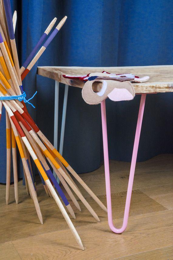 pied de table en pingle 40 cm rose pastel hairpin legs. Black Bedroom Furniture Sets. Home Design Ideas