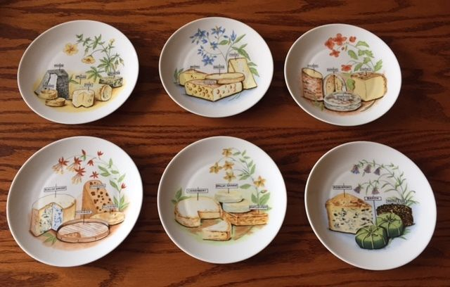 Set of 6 Cheese/Canape Plates Porcelain LOURIOUX FRANCE Philippe Deshoulieres #PhilippeDeshoulieres