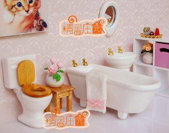 G05-x452 crianças brinquedo de presente do bebê 1:12 Dollhouse mini móveis em miniatura sentadoria banheiro cerâmica 4 pçs/set