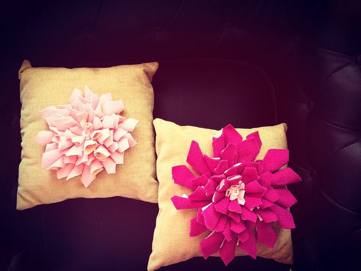 Handmade burlap flower cushion cover