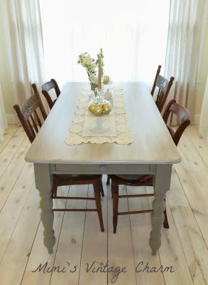 Mimis Vintage Charm Farmhouse Table In French Linen