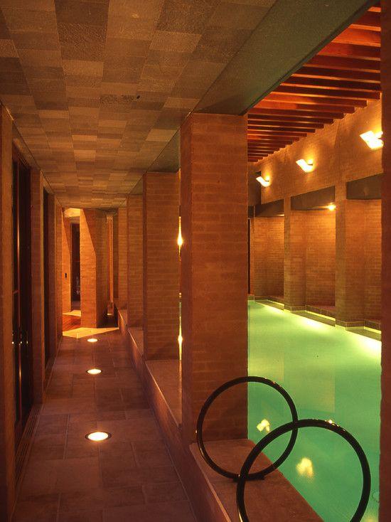 Gorgeous Pool House Design in Luxury House: Amazing Classic Indoor Pool Dramatic Lighting Buffum Poolhouse