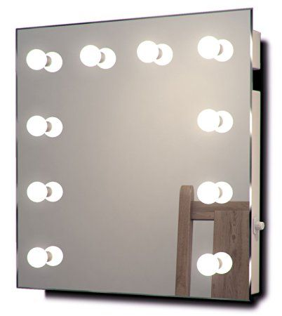 Diamond X Wallmount Hollywood Makeup Mirror with Cool White Dimmable LED k89CW